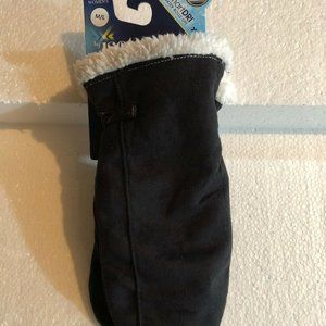 Isotoner black suede mittens with white faux fur
